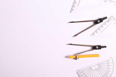 Photo pour Geometry equipment on white background - image libre de droit