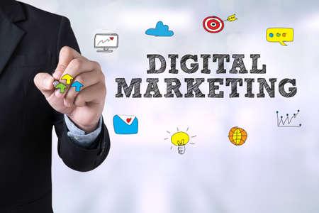 Foto de DIGITAL MARKETING Businessman drawing Landing Page on blurred abstract background - Imagen libre de derechos