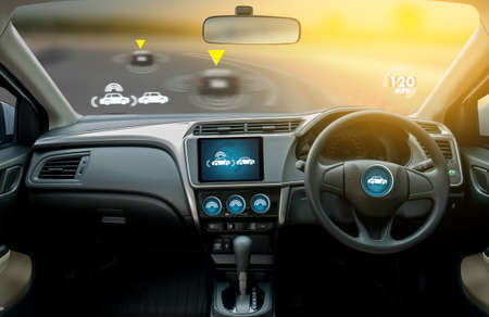 Foto de autonomous driving car and digital speedometer technology image visual - Imagen libre de derechos