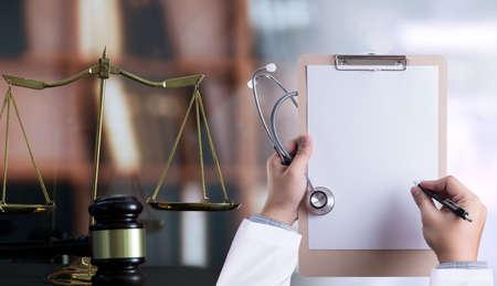 Foto de law concept Judge law medical Pharmacy compliance Health care business rules. - Imagen libre de derechos