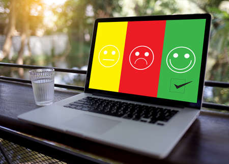 Foto de business man and woman select happy on satisfaction evaluation? And good mood smiley and evaluate - Imagen libre de derechos