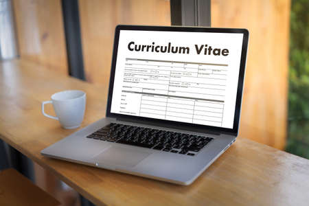 Photo for CV - Curriculum Vitae (Job interview concept with business CV resume) , BUSINESS OFFICE BUSINESSMAN WORKING application job - Royalty Free Image