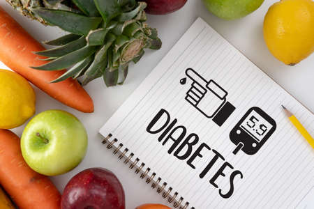 Foto per a diabetes test, health Medical Concept , Obesity , blood test for diabetes - Immagine Royalty Free