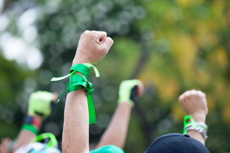 Photo for People raised hand air fighting for protest - Royalty Free Image