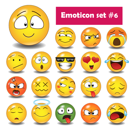 Illustration pour Set of cute emoticons, 3d emoji isolated on white background, vector illustration. - image libre de droit