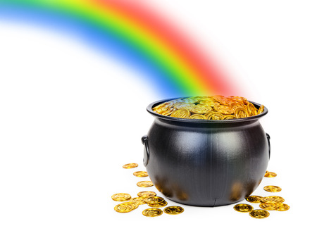 Foto de Large black pot filled with gold coins at the end of a colorful rainbow with room for text - Imagen libre de derechos