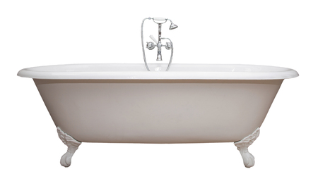 Foto de Beautiful classic style white claw foot bathtub with stainless steel old fashioned faucet and sprayer. Isolated on white.  - Imagen libre de derechos