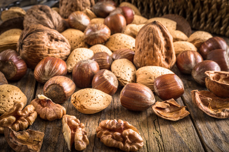 Photo for heap of different kinds of nuts in shell - Royalty Free Image