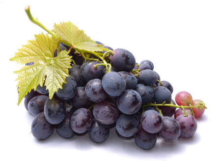 Photo for Red grapes with leaveas isolated on white background - Royalty Free Image