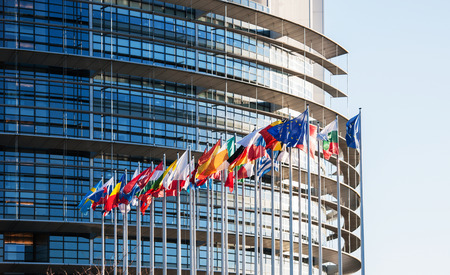 Photo for All EU Flags in front of the European Parliament, Flags in front of the European Parliament, Strasbourg, Alsace, France - Royalty Free Image
