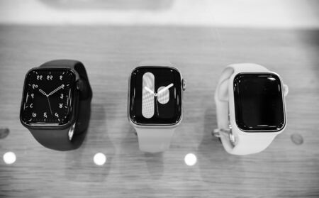 Foto de Paris, France - Sep 20, 2019: Black and white indian watch face on new wearable Apple Watch Series 5 presentation sale in Apple Store with watchOS 6 and new OLED display, which can stay always on - Imagen libre de derechos