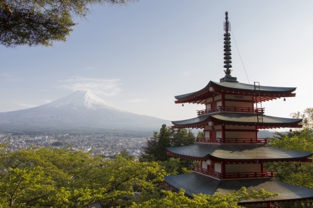 Red pagoda with Mt. Fuji as the background