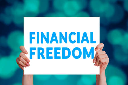 Photo pour Financial freedom card with bokeh background - image libre de droit