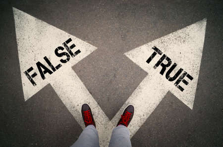 Photo for TRUE versus FALSE written on the white arrows, dilemmas concept. - Royalty Free Image