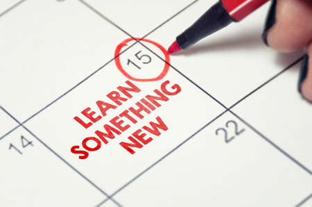 Foto per Learn something new. New skills, education, self improvement concept date marked on the calendar. Making and following a study schedule. - Immagine Royalty Free