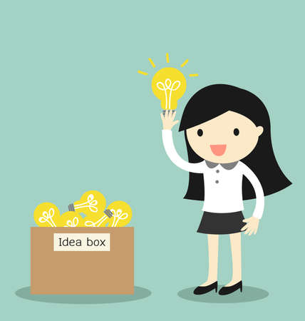 Illustration pour Business concept, Business woman pick some idea from idea box. illustration. - image libre de droit