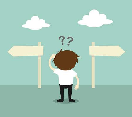 Illustration pour Business concept, Businessman confused about two direction. illustration. - image libre de droit