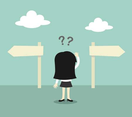 Illustration pour Business concept, Business woman confused about two direction. Vector illustration. - image libre de droit