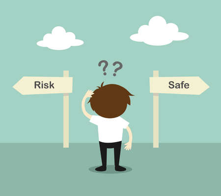 Ilustración de Business concept, Businessman confused about two direction, between risk or safe. Vector illustration. - Imagen libre de derechos