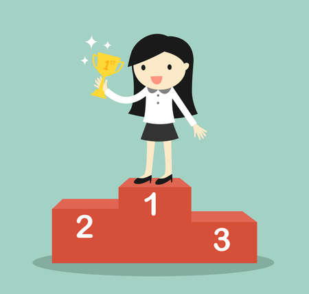 Illustration for Business concept, business woman standing on the winning podium and holding trophy. Vector illustration. - Royalty Free Image