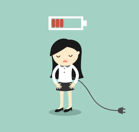 Ilustración de Business concept, Business woman feeling tired and low battery. Vector illustration. - Imagen libre de derechos