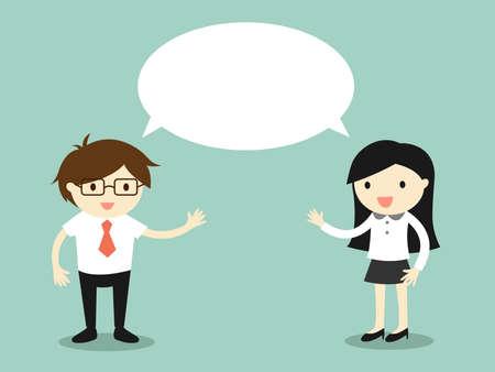 Illustration pour Business concept, businessman and business woman talking the same thing or same ideaconcept. Vector illustration. - image libre de droit