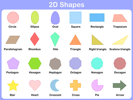 Illustration for shape 2d : Learning the 2D shapes for kids - Royalty Free Image