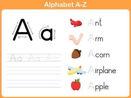 Ilustración de Alphabet Tracing Worksheet: Writing A-Z - Imagen libre de derechos
