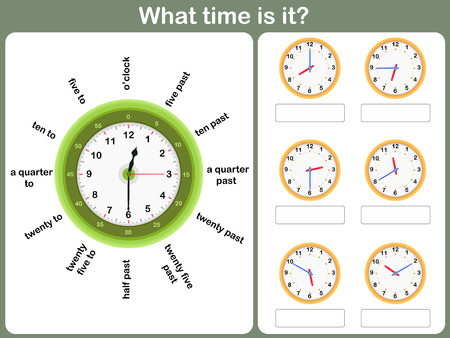 Illustration pour Telling time worksheet. write the time shown on the clock - image libre de droit