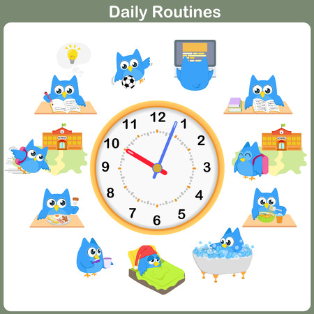 Photo pour Daily Routines sheet.   Worksheet for education - image libre de droit