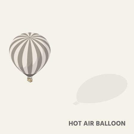 Illustration pour A hot air balloon in isometric view with shadow. - image libre de droit