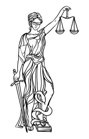 Illustration pour Themis goddess of justice. Femida vector illustration. Justice statue label, scales of justice symbol, lady goddess of justice. - image libre de droit