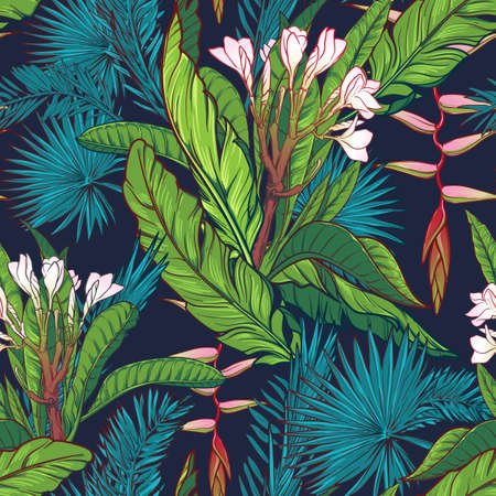 Illustration pour Tropical jungle. Palm tree and banana leaves, frangipani and heliconia flowers on a dark blue background. Seamless pattern with Irregular distribution of elements. EPS10 vector illustration. - image libre de droit