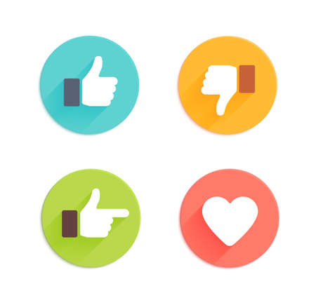 Illustration pour Thumbs up icons set. Flat style social network vector icon for app and web site - image libre de droit