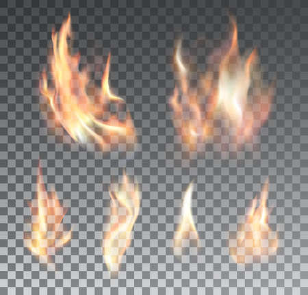 Ilustración de Set of realistic fire flames on grid background. Special effects. Vector illustration. - Imagen libre de derechos