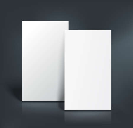 Illustration pour Stack of two white pages. Booklet, business card, postcard or flyer mockup template. Vector illustration. - image libre de droit