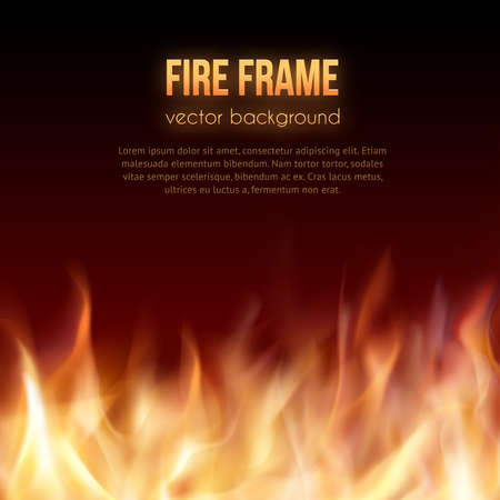 Illustration for Abstract background with fire flames frame and copyspace for text. Vector illustration. Burning fire frame. Vector Fiery Background. Campfire. Transparent fire flames - Royalty Free Image