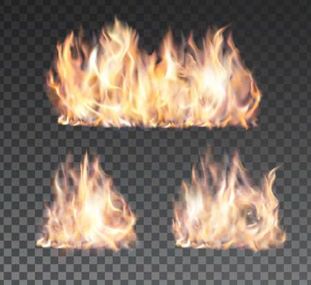 Illustration for Set of realistic fire flames on transparent background. Special effects. - Royalty Free Image