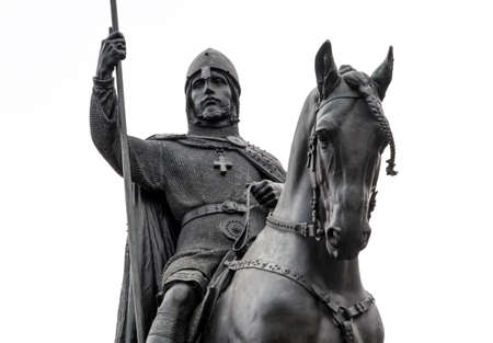 Photo for Statue of Saint Wenceslas located in Prague, Czech Republic. Close-up of head of the Vaclav and horse - Royalty Free Image