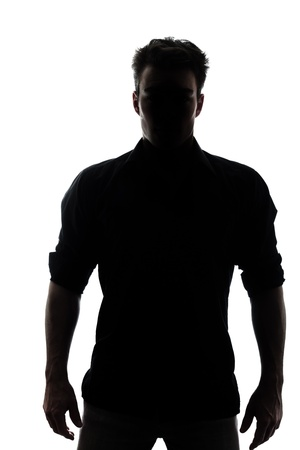 Photo for Man in silhouette isolated on white background - Royalty Free Image