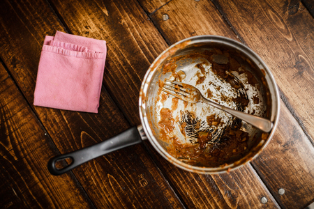 Photo pour Dirty Pan After a Dinner. That was the meal of a Student or a teenager - image libre de droit