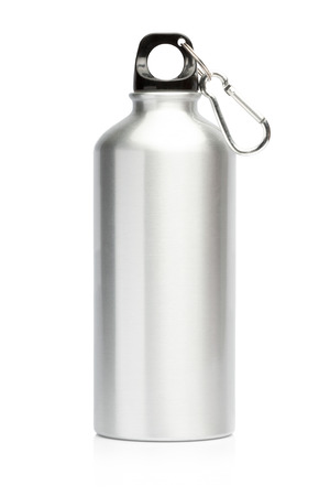 Foto de Aluminum bottle water isolated white background - Imagen libre de derechos