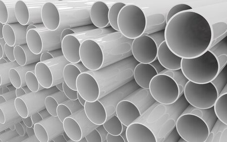 Photo for Tubes PVC pipes isolated on white background - Royalty Free Image