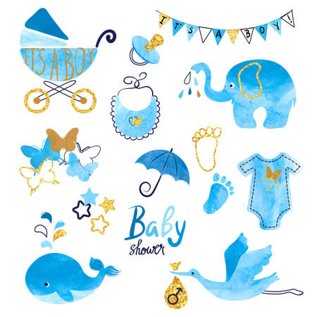 Illustration for Watercolor Baby Shower boy set. Collection of vector design elements. - Royalty Free Image