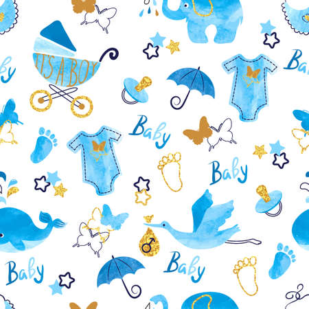 Illustrazione per Baby shower boy seamless pattern. Vector watercolor kids background. - Immagini Royalty Free