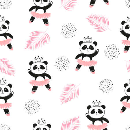 Illustration for Cute panda ballerinas seamless pattern. Vector background for kids design. - Royalty Free Image