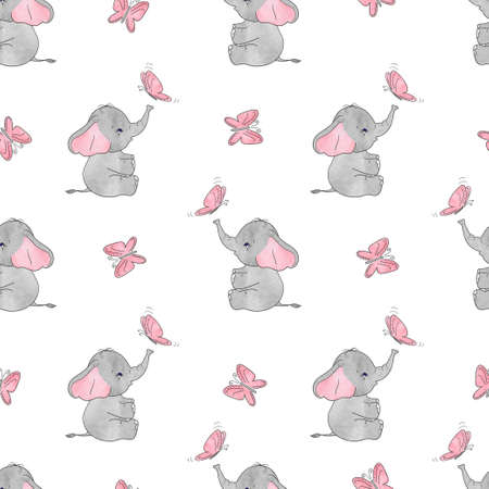 Illustration pour Seamless pattern with cute elephants and butterflies. Vector background for kids design. Baby print. - image libre de droit