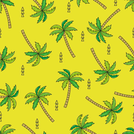 Illustration for Green seamless pattern with doodle palm tree. Vector illustration - Royalty Free Image