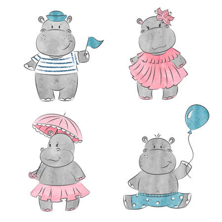 Illustration for Set of cute cartoon baby Hippo. Vector watercolor illustration. - Royalty Free Image