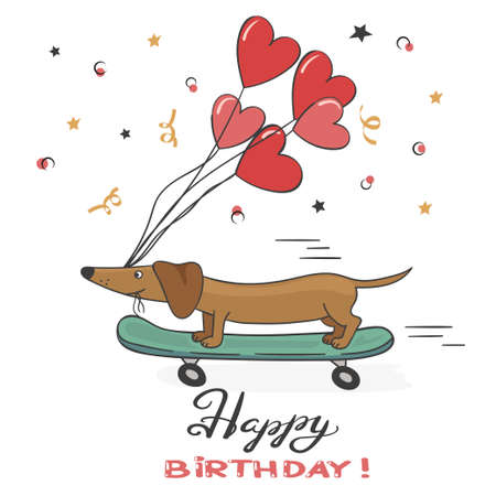 Illustrazione per Greeting card with cute dachshund dog and balloons. Happy Birthday vector illustration. - Immagini Royalty Free